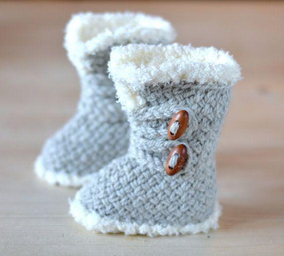 KNITTING PATTERN Baby Booties Basket Stitch Baby Boots 3 Sizes Ugg ...