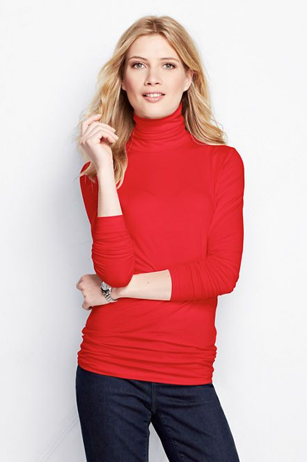 b664cd9ae1a8a5 Women s Long Sleeve Solid Fitted Lightweight Cotton Modal Turtleneck from  Lands  End