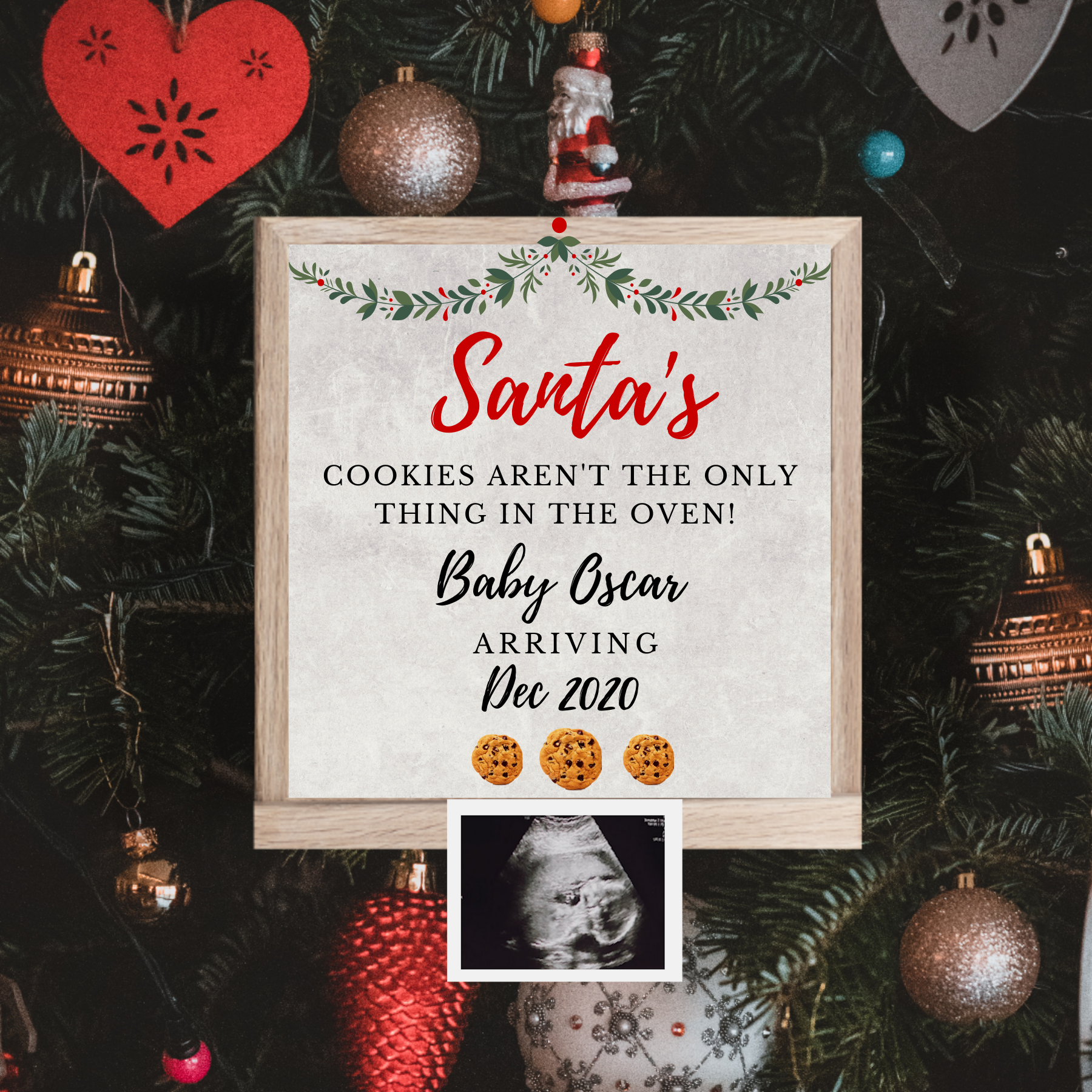 santa baby reveal I asked Santa for a real baby for Christmas June baby June 2020 Only pregnancy Christmas reveal Instant Download