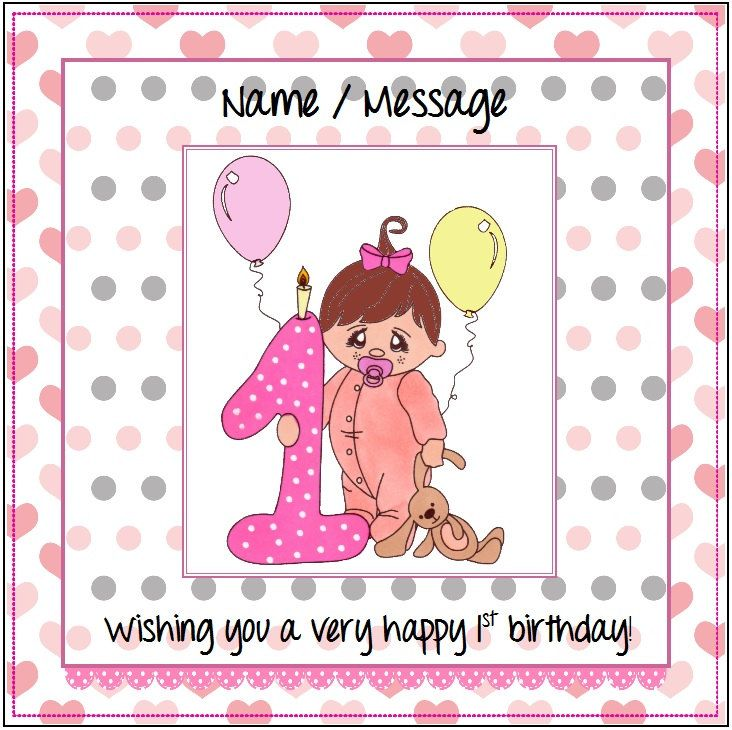 First Birthday Card For Girl Personalised Birthday Girl 1st