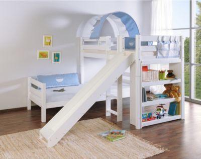 Wohnwagen Dreifach Etagenbett : Relita etagenbett beni l mit rutsche buche massiv weiß lackiert