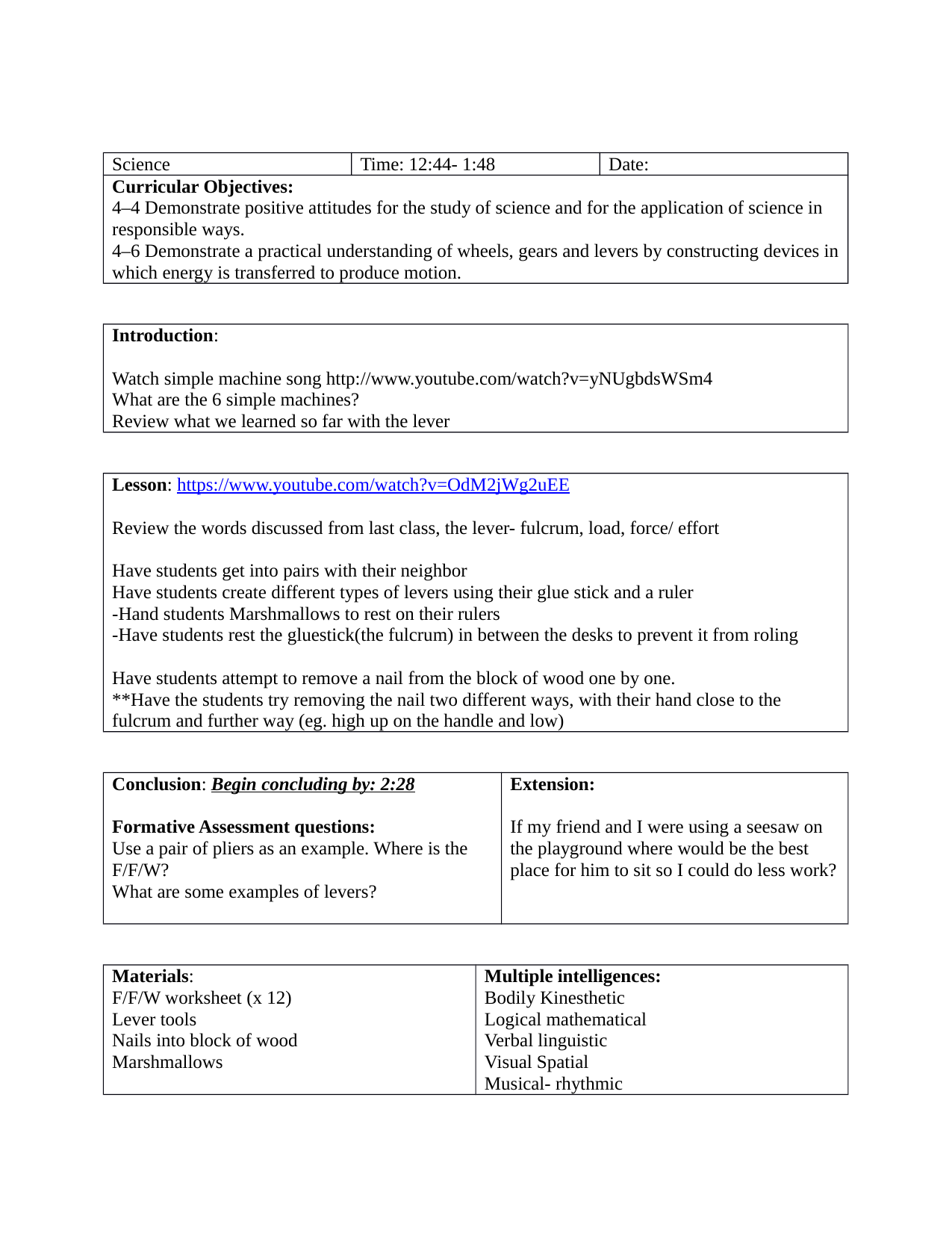 Levers Lesson Plan Resource Preview