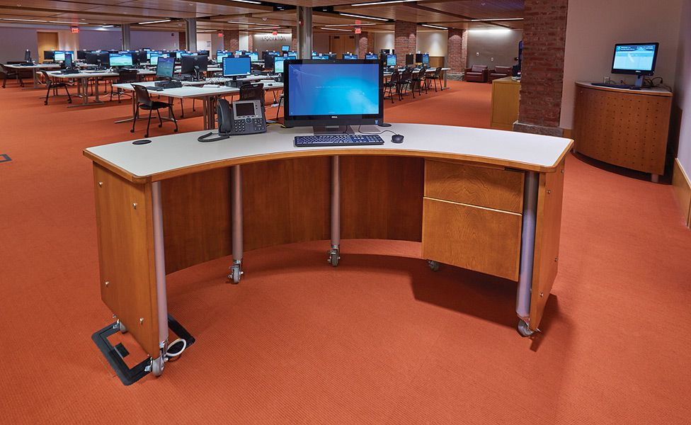 mobile service desk slover library - demco library interiors
