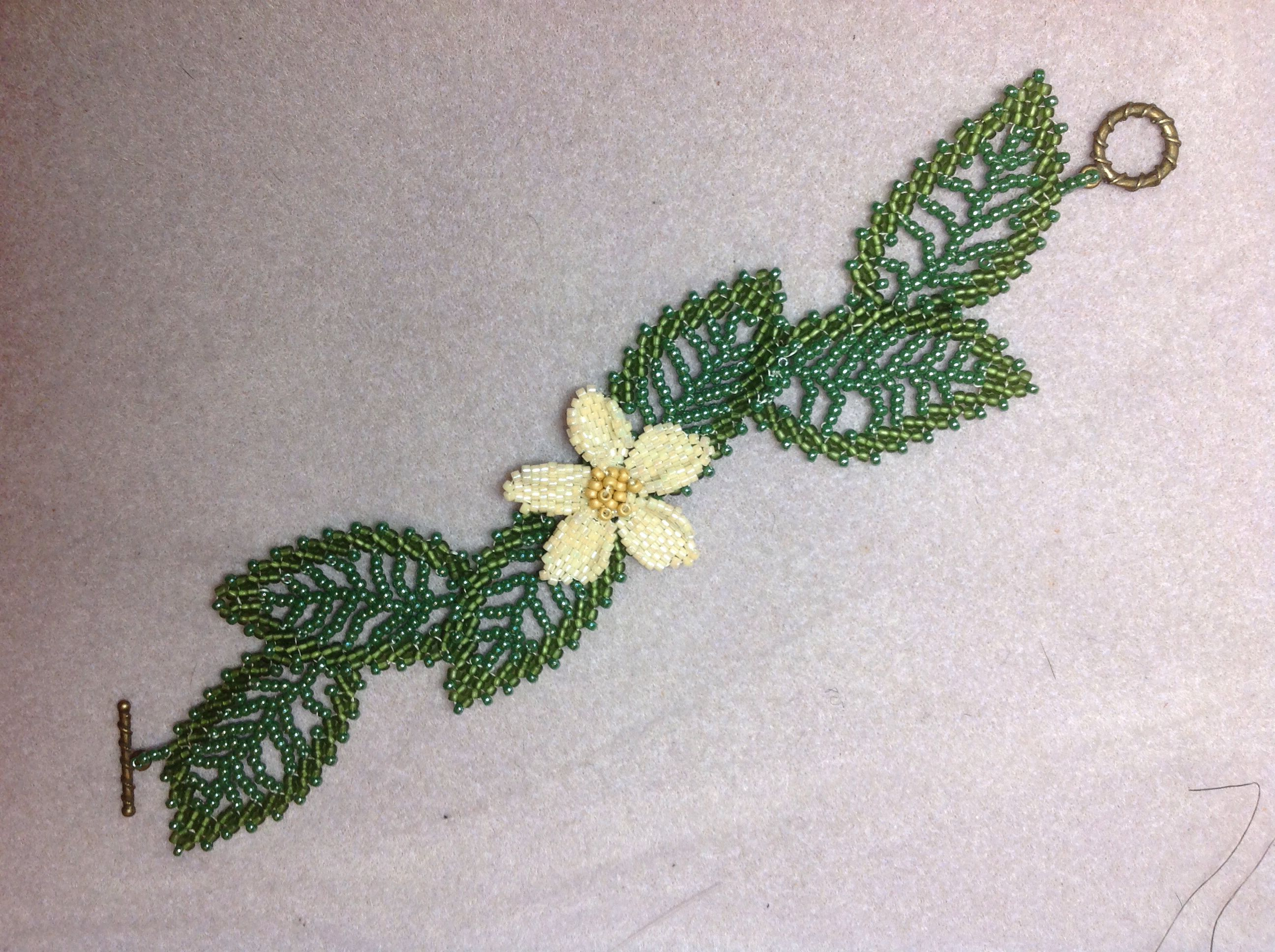 St. Petersburg leaves and a brick stitch flower.