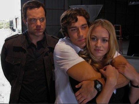 Zac Levi, Yvonne Strahovski, and Adam Baldwin--- casey's face!!