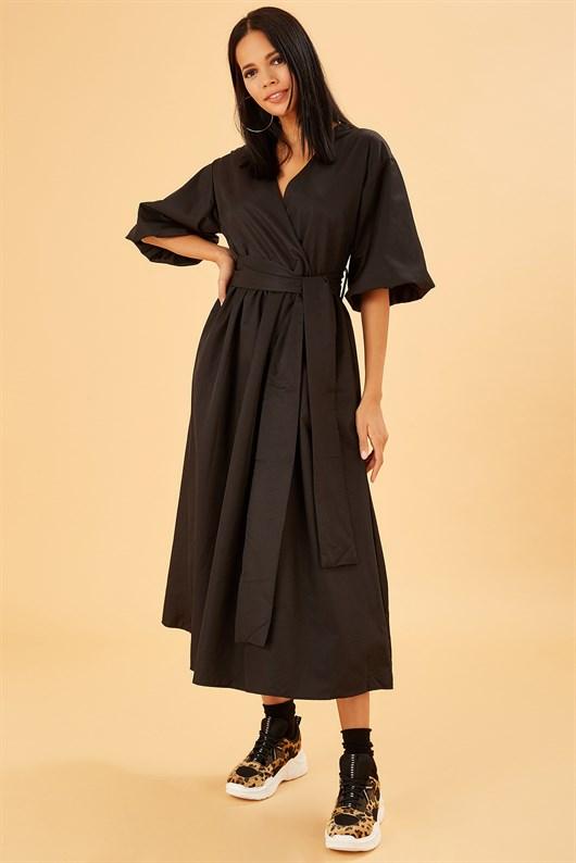 Karpuz Kollu Kendinden Kemerli Siyah Midi Boy Elbise Elbise Elbise Modelleri Bej Elbiseler