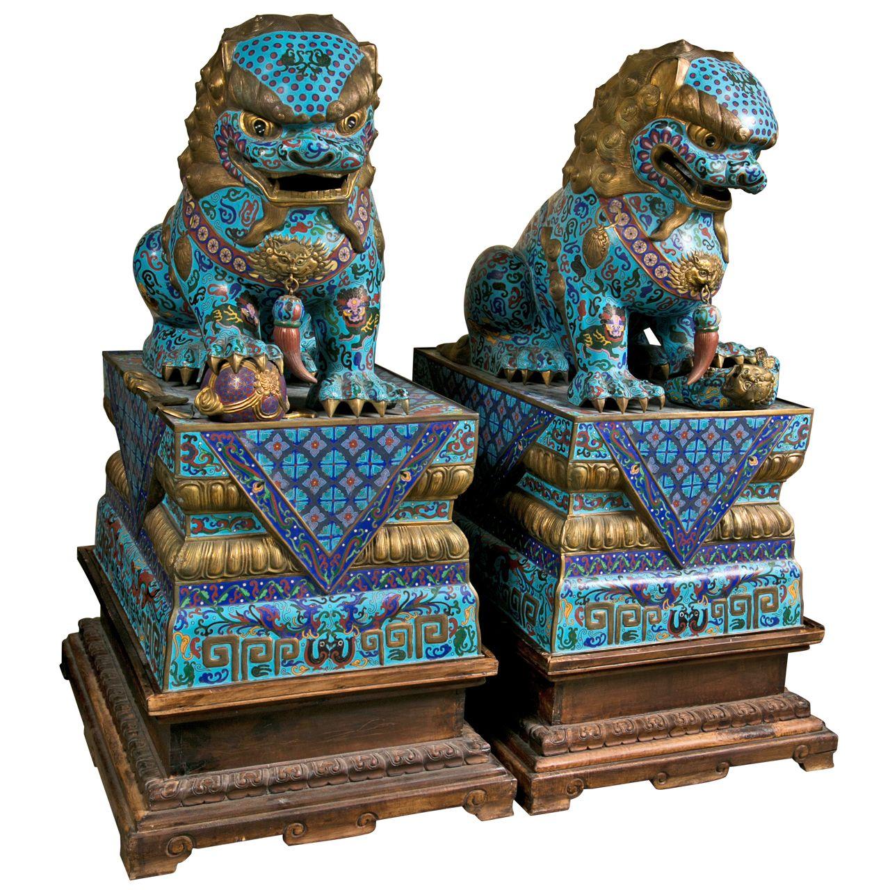 Large Pair Of Chinese Cloissone Foo Dogs Foo Dog Asian Art Japanese Foo Dog