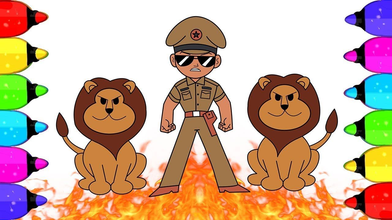 How to Draw Little Singham With Lion | Little singham