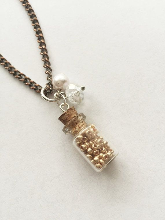 Upcycled Charm Necklace:Mini Glass Bottle Gold by Five17Designs