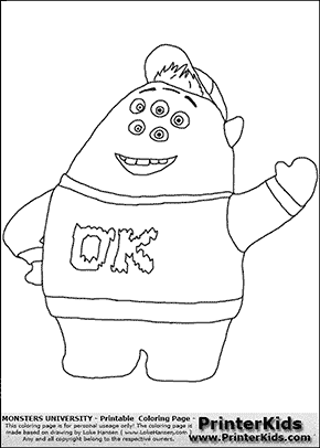 monsters university scott scouishy squibbles 2 coloring page - Pixar Coloring Pages Monsters