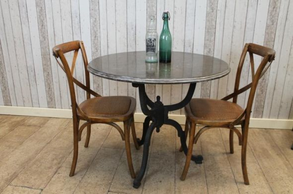 """Ideal for the garden, we now stock a range of blue stone restaurant tables with cast iron bases.  All of the stone tops are made of 1"""" thick blue stone which is extremely hard wearing and great for outside use."""