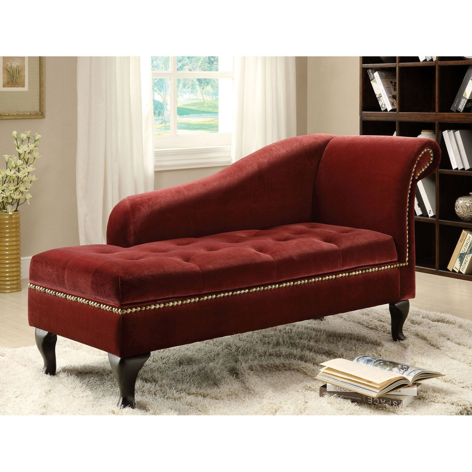 Furniture of America Visage Fabric Storage Chaise - Colonial Red ...