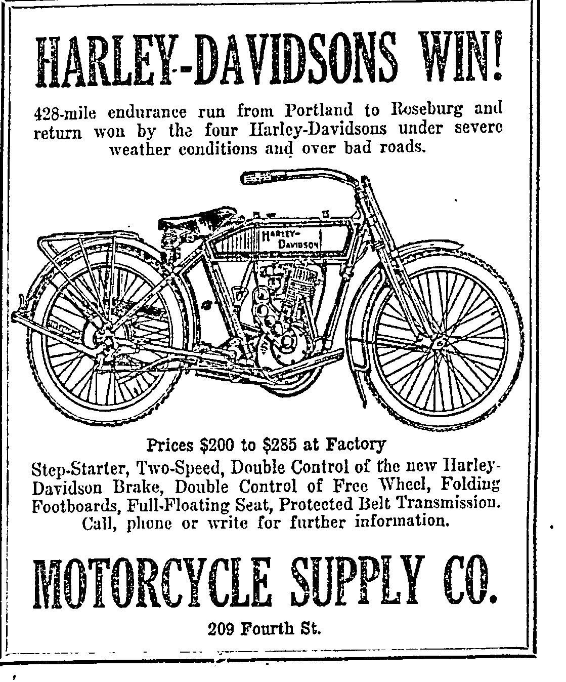 Harley Davidson Portland >> Vintage H D Ad Featuring Portland Event Vintage Bike