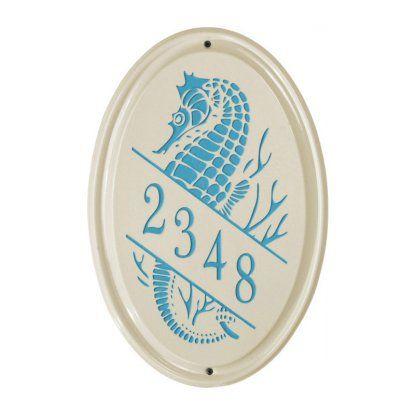 White Hall Sea Horse Ceramic Oval Address Plaque - Vertical