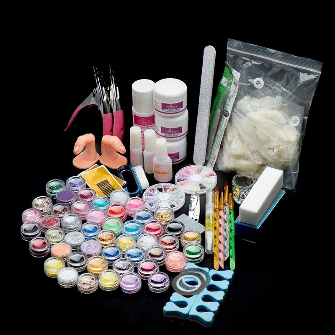 Yoyorule 29 Acrylic Nail Art Tips Powder Liquid Brush Glitter ...