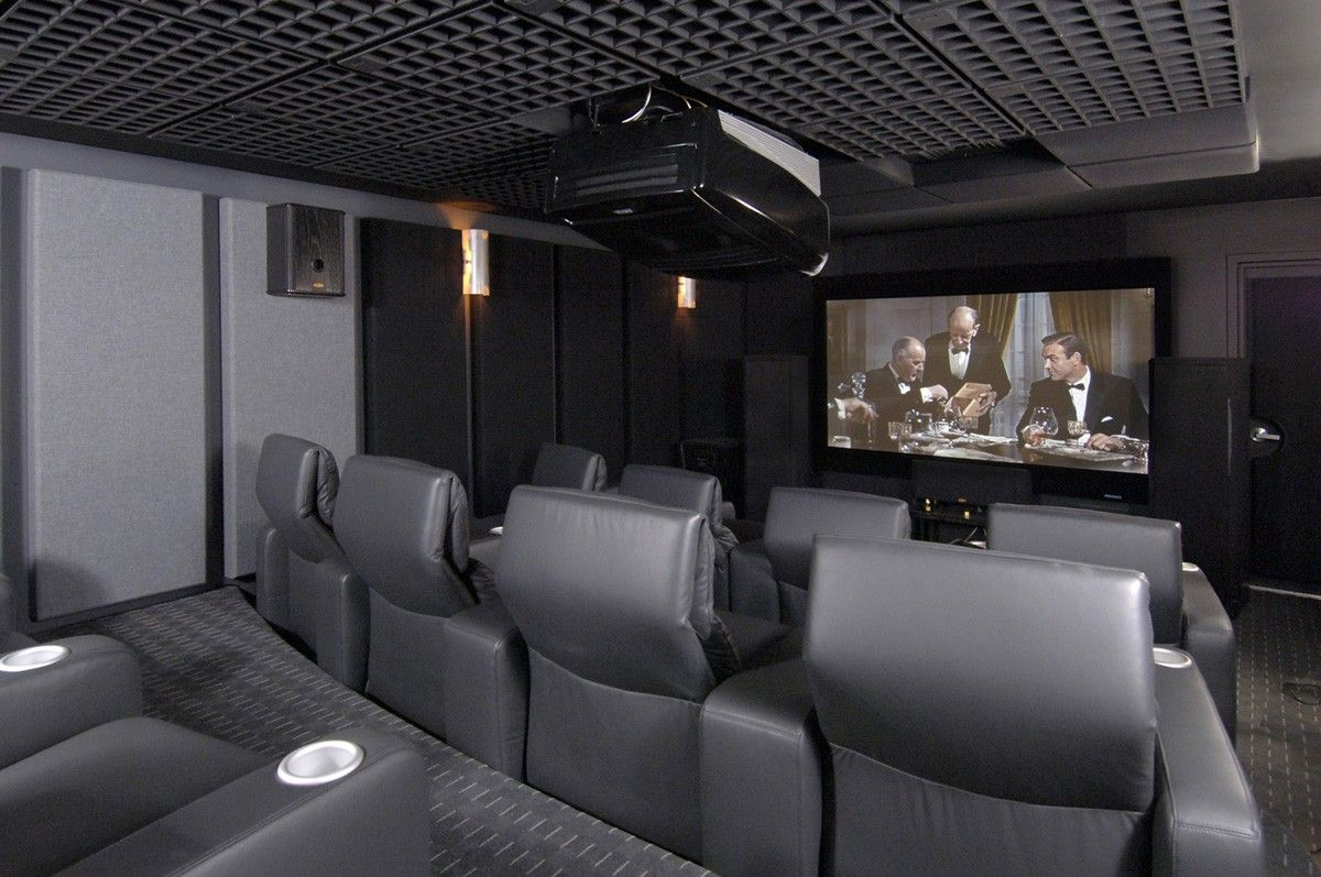 Mesmerizing Gray Room For Home Theater Design With Gray Leather