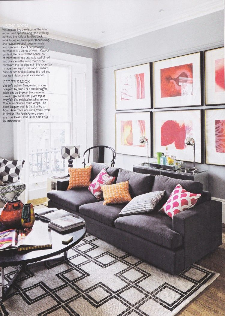 loving the @K L Home fabric + red prints on the wall | Home ...