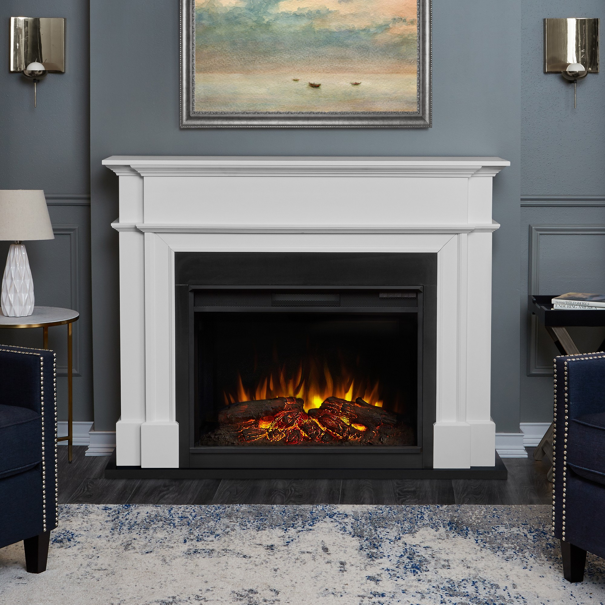 Real Flame Harlan Decorative Fireplace White White Electric