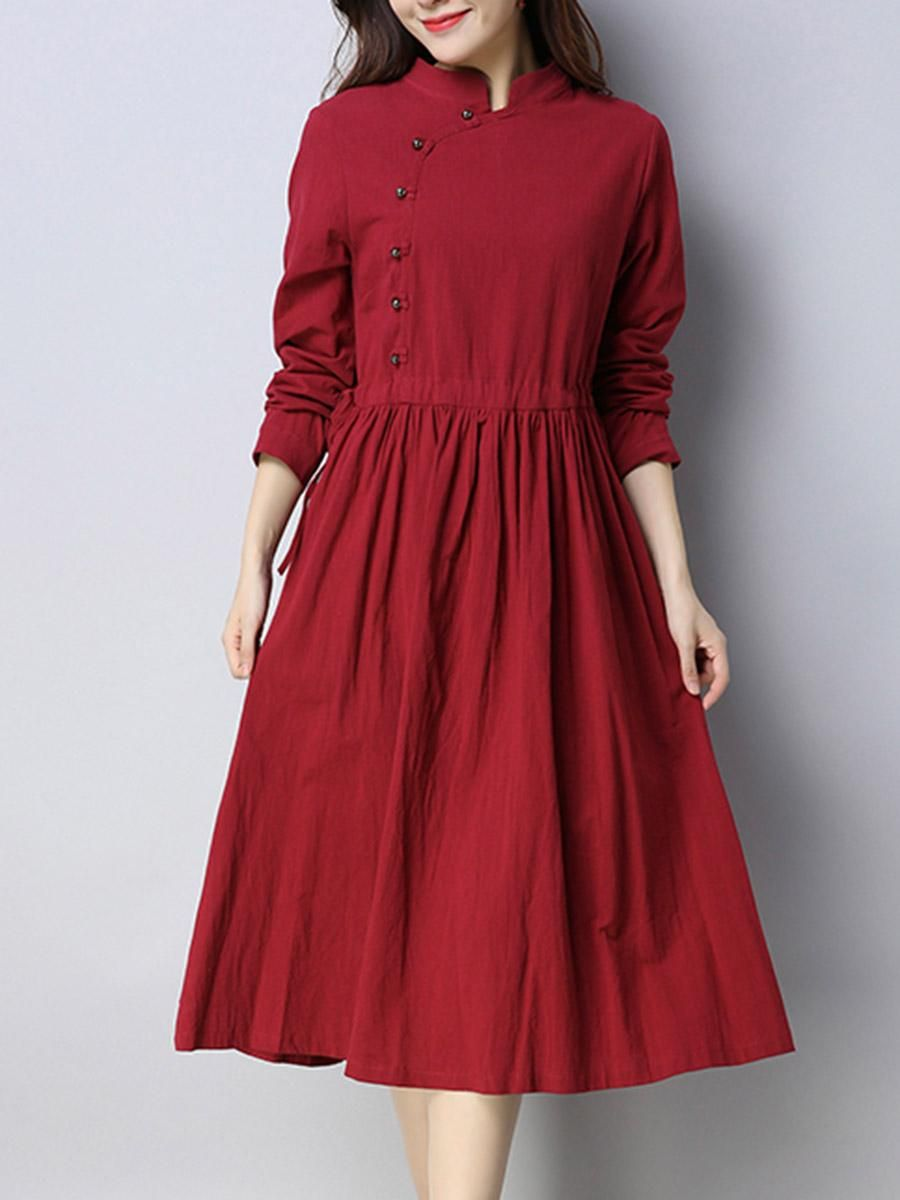 1e30bfdd7a678d  BerryLook -  berrylook Band Collar Drawstring Plain Diagonal Buttons Maxi  Dress - AdoreWe.com