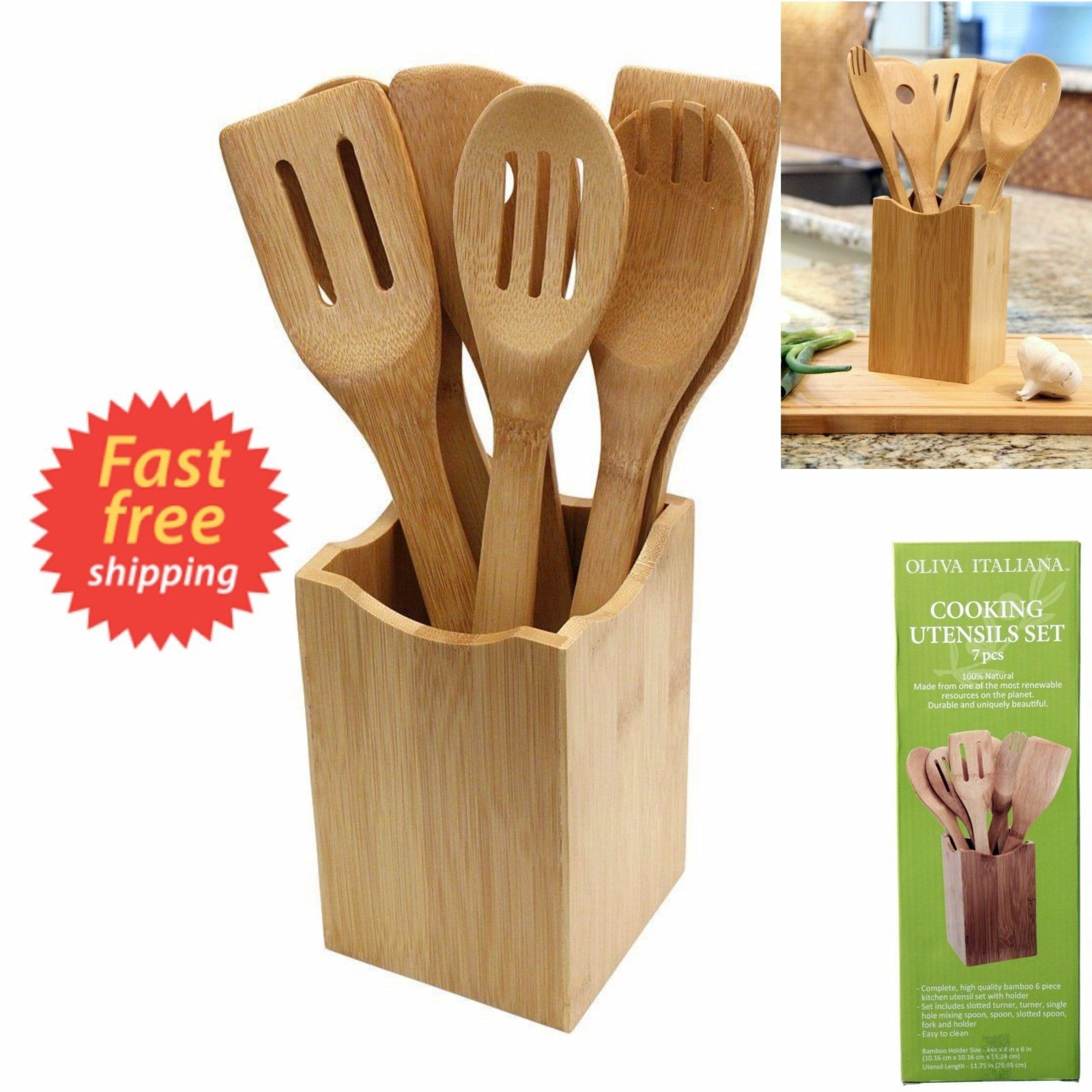 Wooden Cooking Kitchen Set 7 Piece Utensil Spoon Bamboo Tools