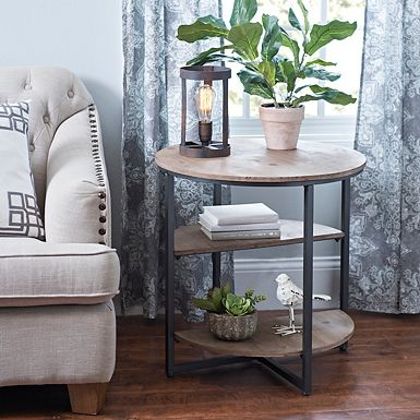 Industrial Wood Plank Side Table Side Table Decor Living Room
