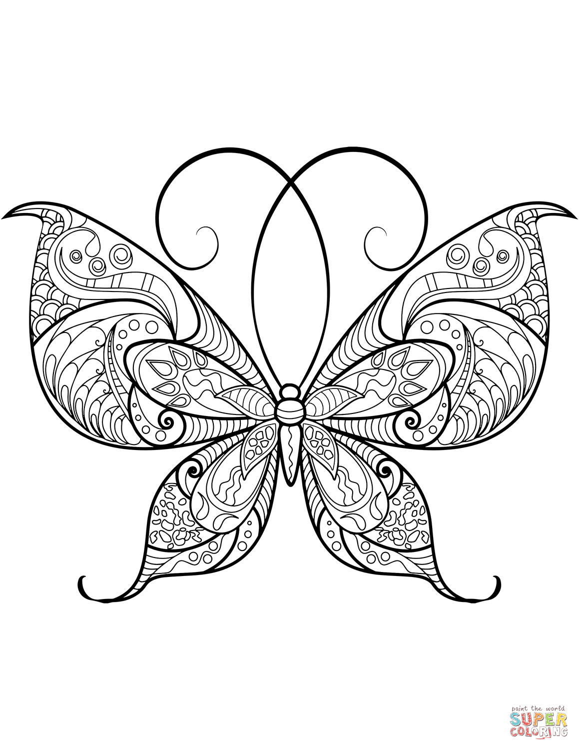 Zentangle Butterfly Super Coloring With Images Insect
