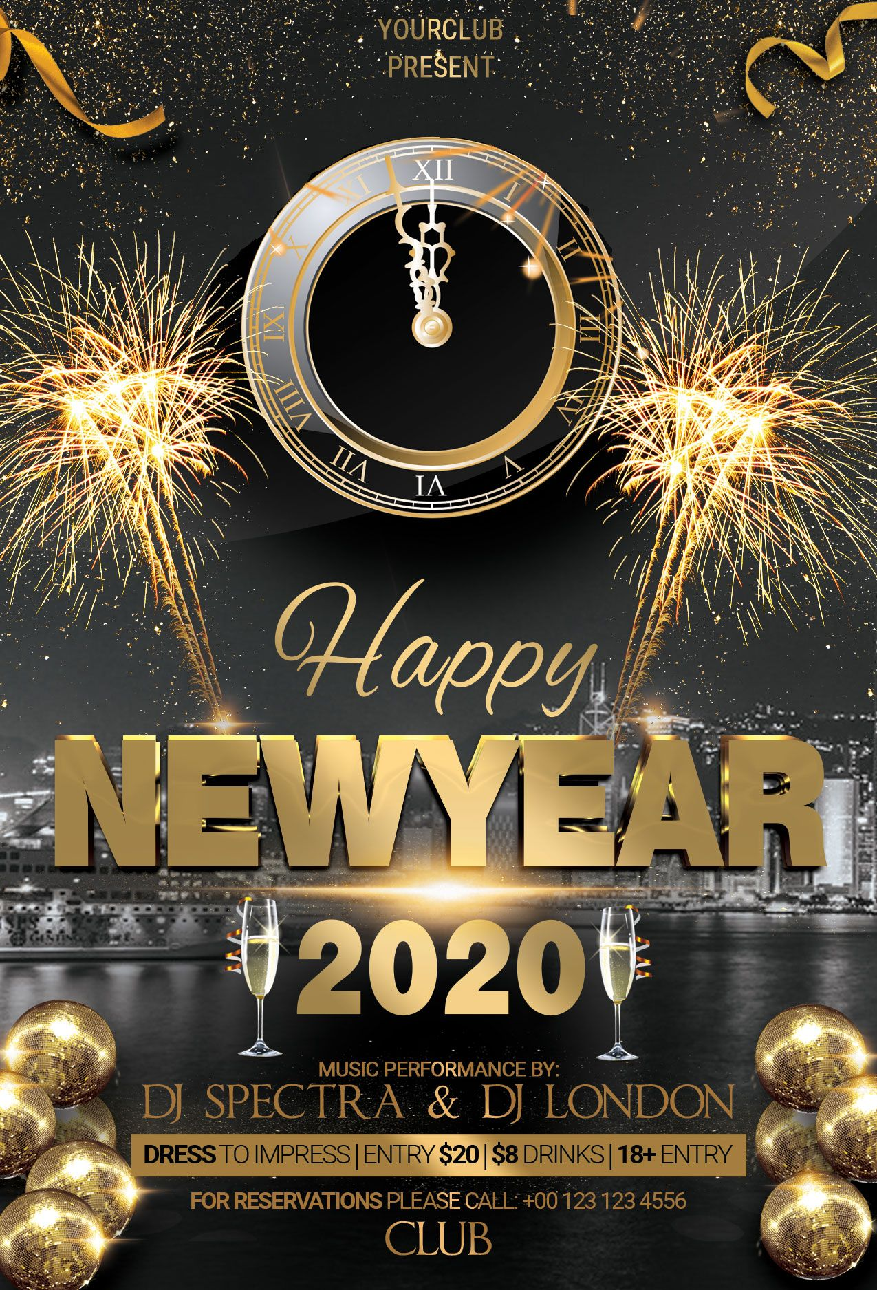 Happy 2020 New Years Free Psd Flyer Template Studioflyers Com Free Psd Flyer Templates Free Flyer Templates Free Psd Flyer