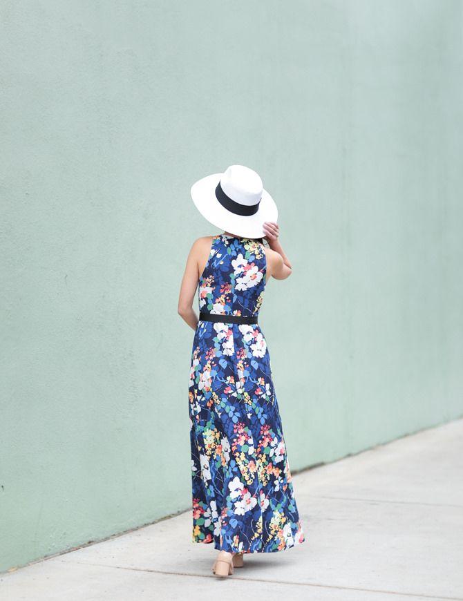 9f9e76aa2 Blue floral maxi dress + convertible scallop purse   Extra Petite ...