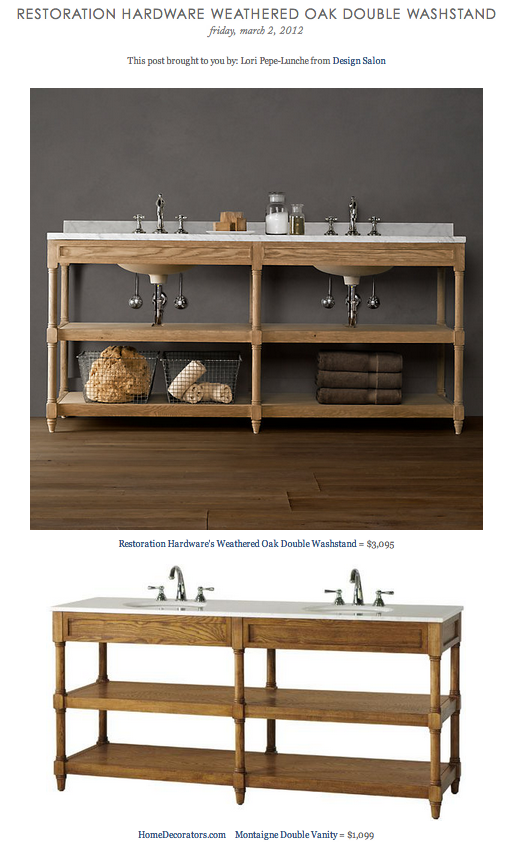 Restoration Hardware Weathered Oak Double Washstand Vs