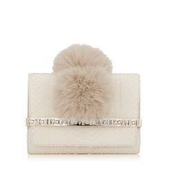 938a5e2120 Jimmy Choo BOW White Python Clutch Bag with Crystal Bar and Fox Fur Pom Poms