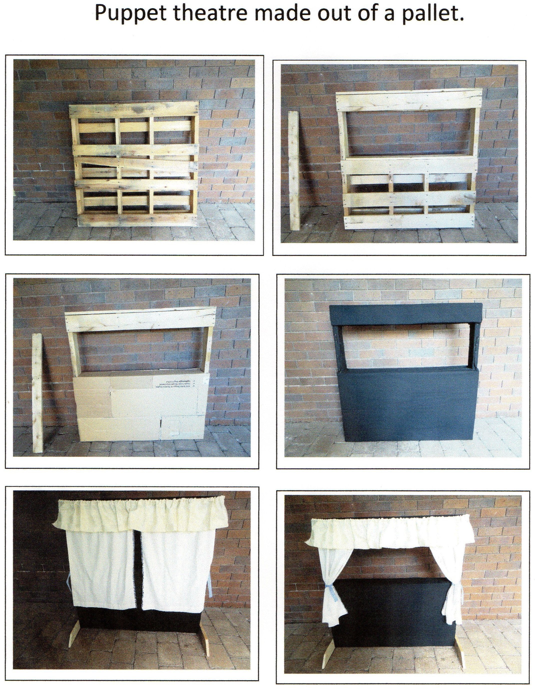 Puppet theatre made out of a pallet, cardboard and fabric. Step by step buide on…