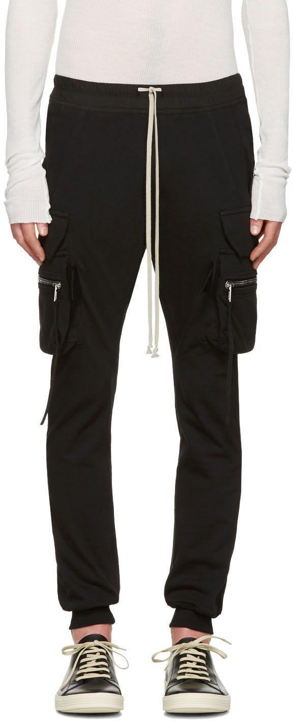 485ec312777 RICK OWENS Black Drawstring Cargo Jog Trousers.  rickowens  cloth  trousers