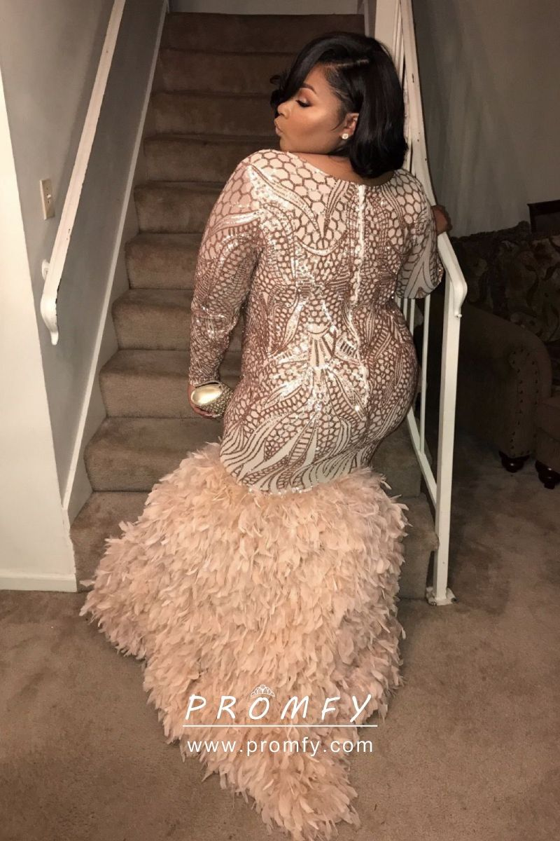Gold Sequin Feather Long Sleeve Plus Size Prom Gown Plus Size Prom Dresses Plus Size Prom Prom Dresses [ 1200 x 800 Pixel ]