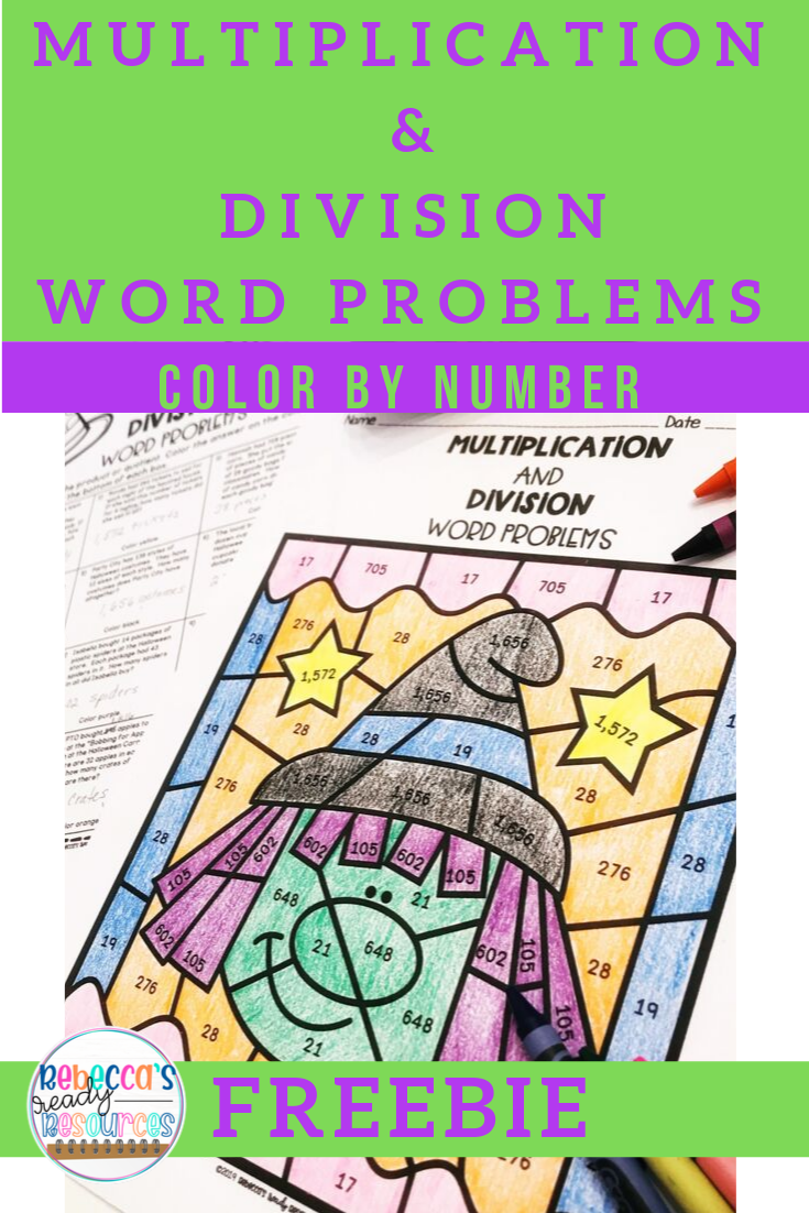 hight resolution of Multiplication and Division Word Problems: Color by Number-Halloween Theme    Division word problems