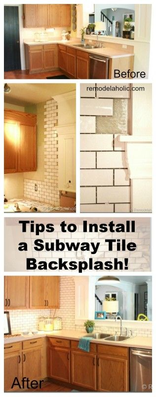 How to Install a Subway Tile Back splash Tutorial @Remodelaholic