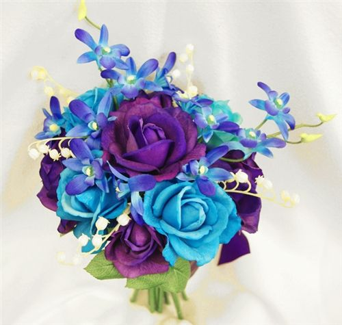 Natural Touch Purple And Teal Turquoise Roses With Mokara Orchids