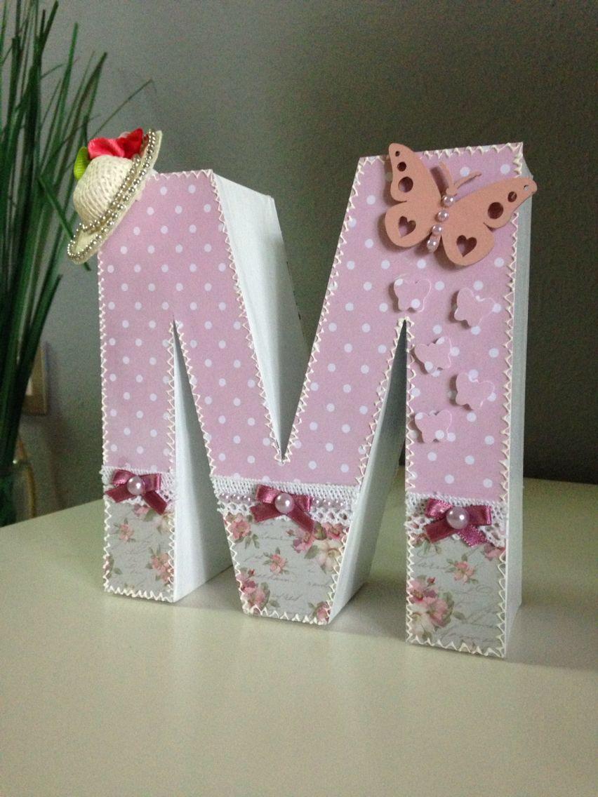 Letra decorada scrap m letras scrapbooking pinterest letras decoradas letras y sacos - Letras decoradas scrap ...