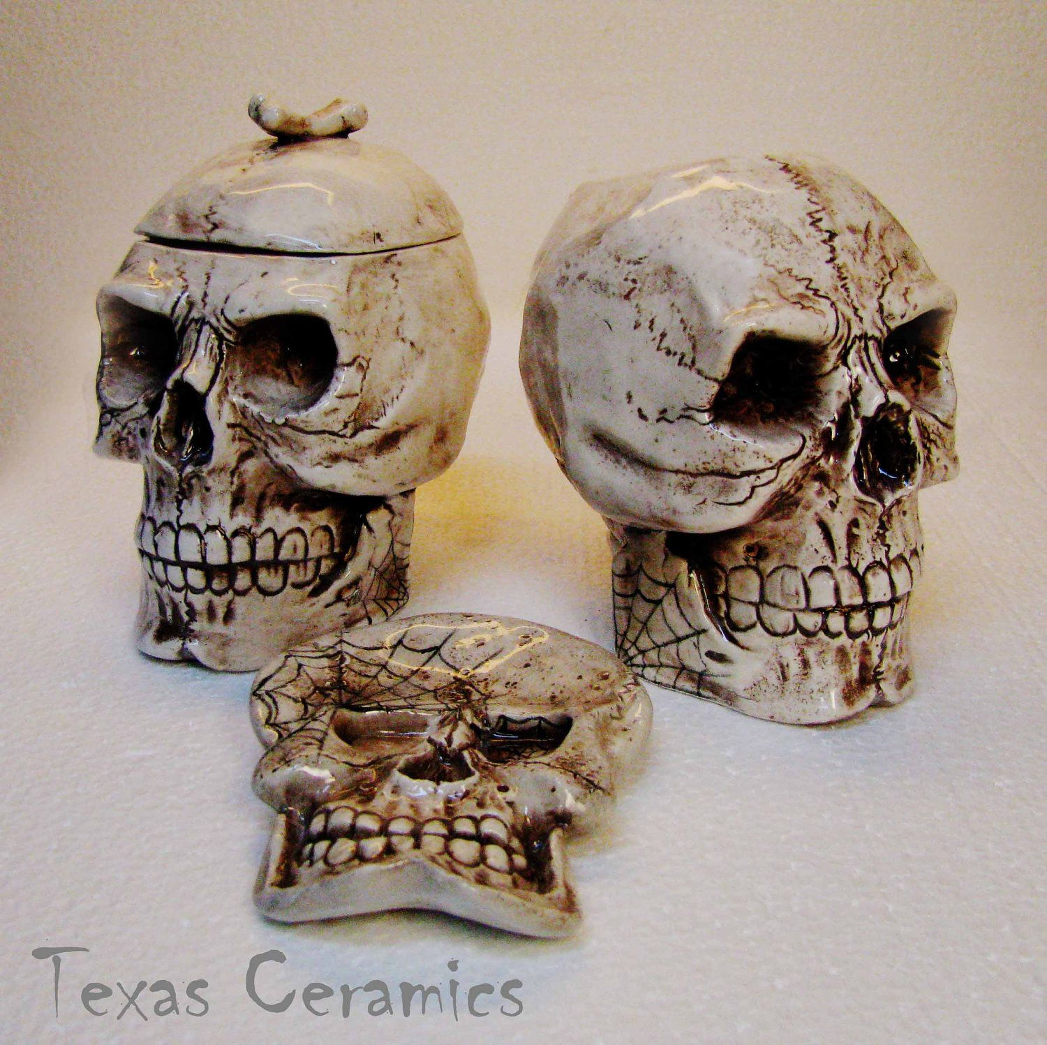 Aged Human Skull Ceramic Creamer U0026 Sugar Bowl With Skull Spoon Rest ...