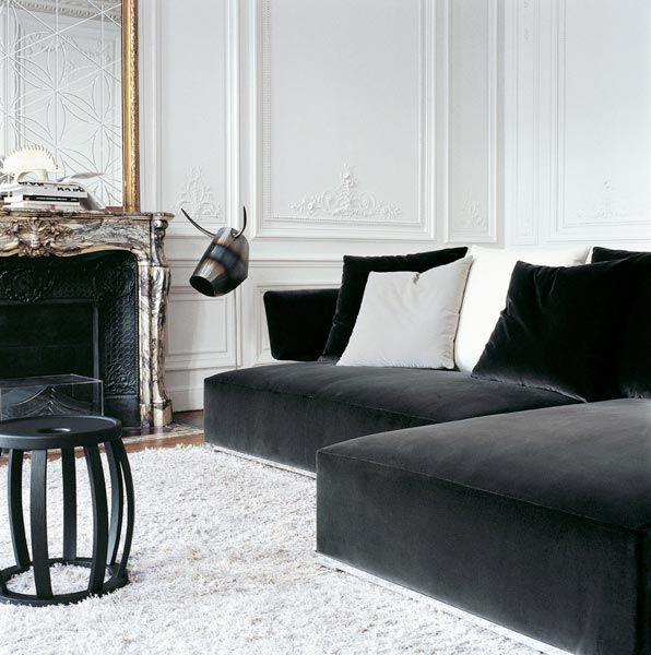 2 Moulding Dark Grey Velvet Sofa With Grey And Blue Toss Cushions Cream Coloured Rug Velvet Sofa Living Room Living Room Sofa Living Room Furniture