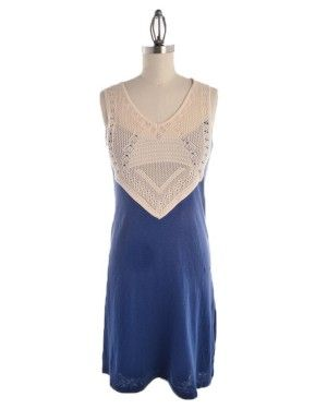 """Missy Robertson Clothing-This navy knit sheath styled dress has a font & back bodice yoke made from a cream crochet. This dress has a comfortable fit & runs true to size. Comes in sizes Small to X-Large.  Navy Knit Sheath Dress with Crochet Yoke Detail Small Measures 36"""" Long #FaithFamilyFashion #ShopMissyRobertson"""