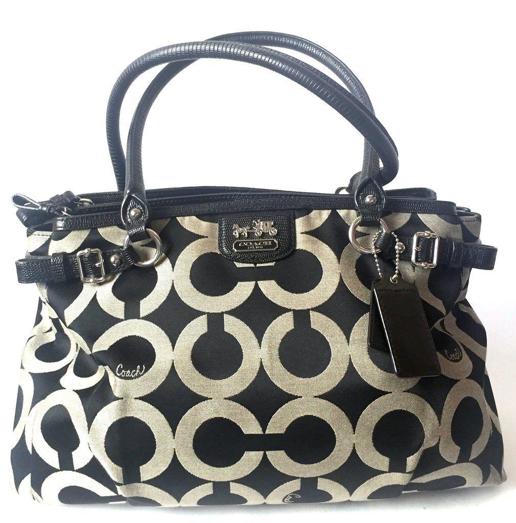 Coach Black   Grey Monogrammed Shoulder Bag  0928e37af73c1
