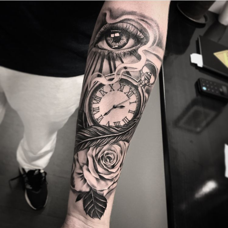 Eye And Multiple Clock Tattoo: Clock Eye Rose Rays Flow Tattoo Black And Grey Roman