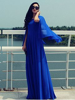 Hot Selling Autumn Dress Solid Color O-Neck Shawl Dress Chiffon Blue Dress