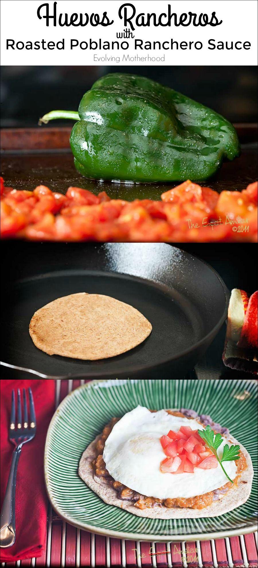Huevos Rancheros with roasted poblano ranchero sauce