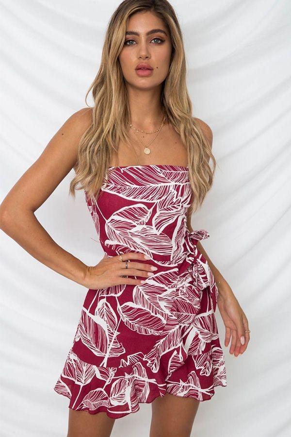 Palm Leaf Print Slit Casual Shirt Dress