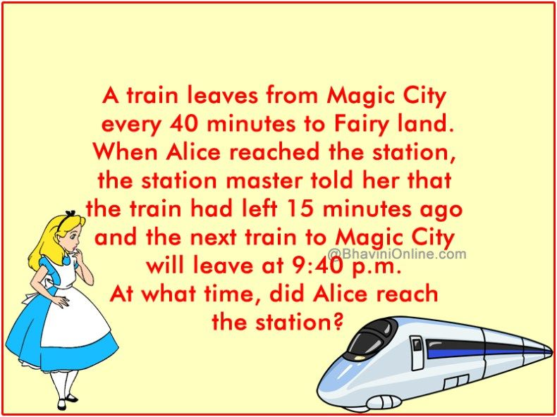 Fun Brain Teaser What Time Did Alice Reach The Station Riddles