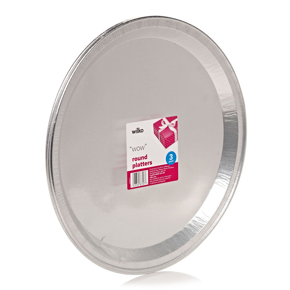 Round foil platters 3 pack party tableware disposable