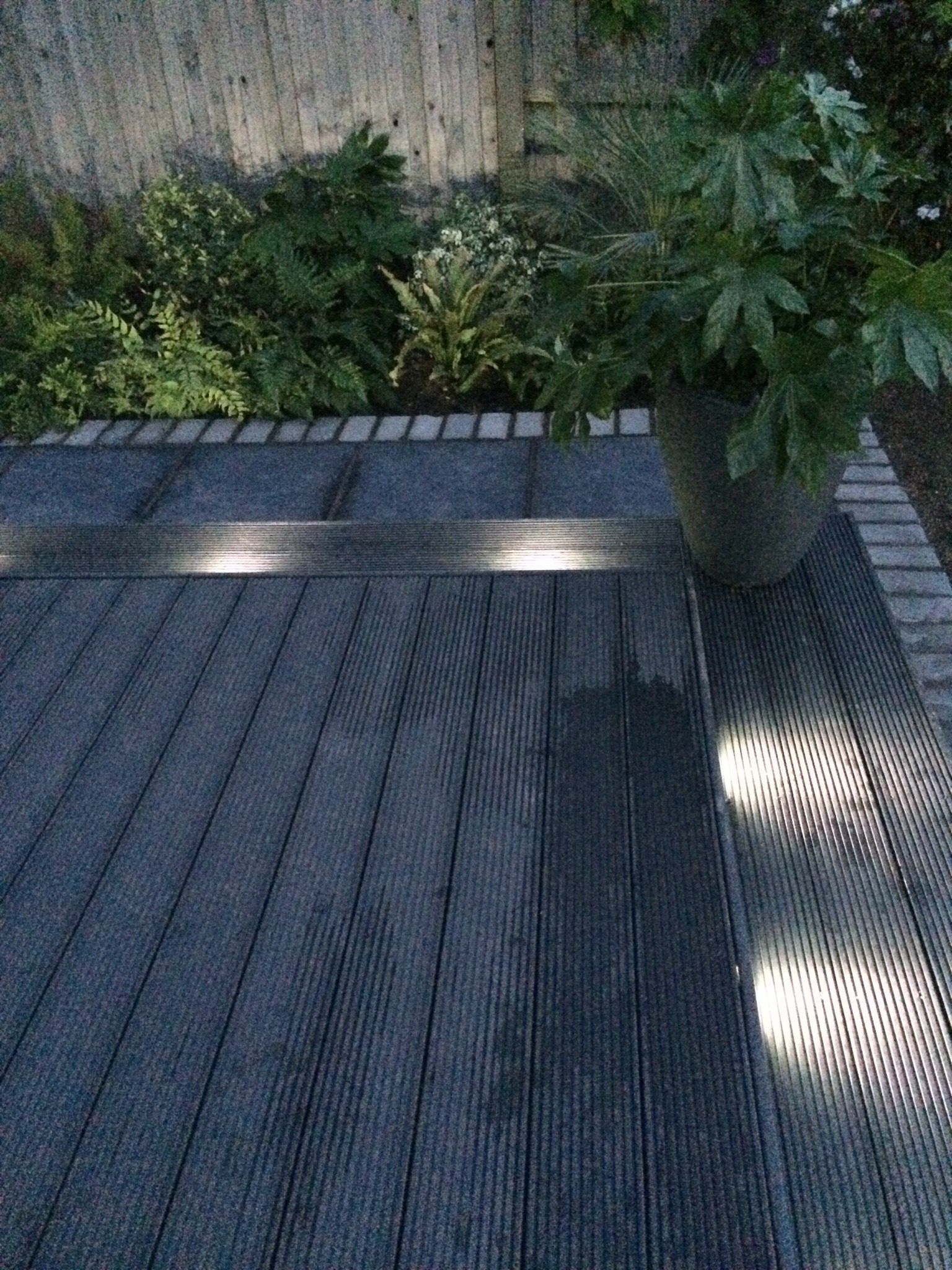 Garden lighting decking composite paving dark grey for Gardens with decking and paving