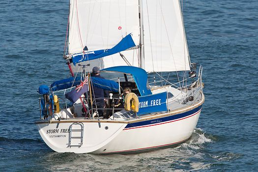 The Westerly Storm 33 yacht Storm Free sailing in the Solent.