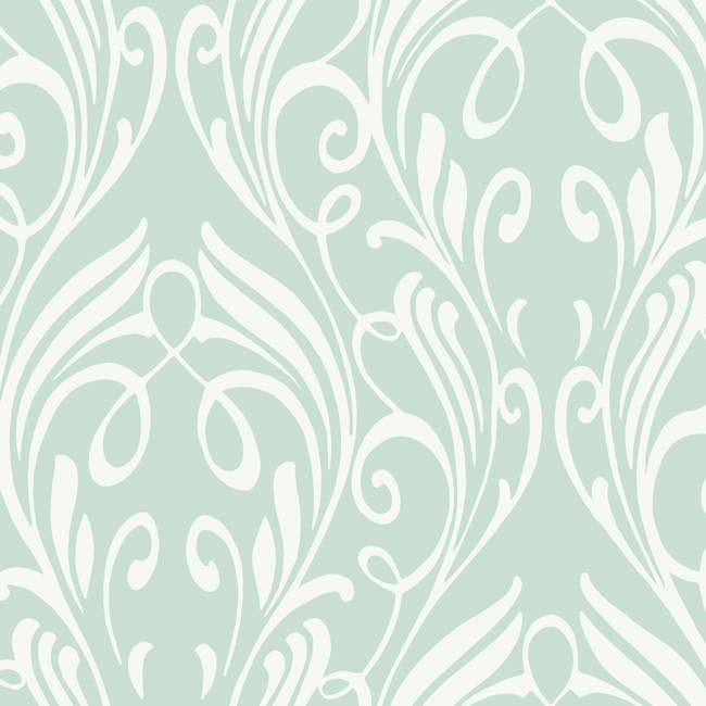 Soft Blue Na0259 Damask Leaf Scroll Wallpaper Contemporary Modern